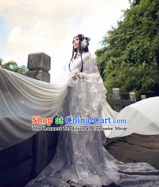 Traditional Chinese Cosplay Fairy White Dress Ancient Imperial Consort Costume for Women