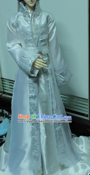 Traditional Chinese Cosplay Royal Prince White Clothing Ancient Swordsman Nobility Childe Costume for Men