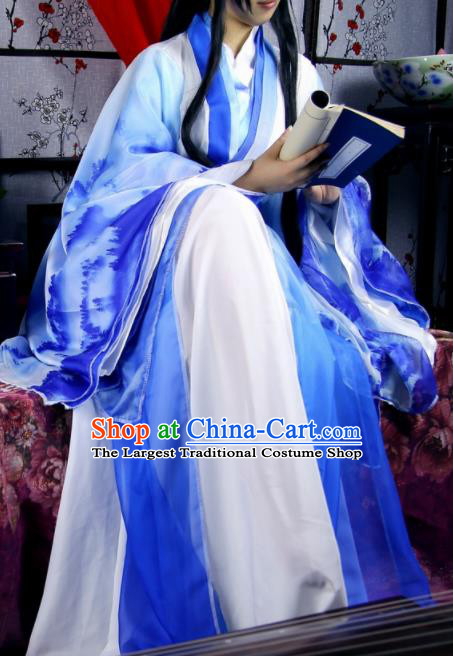 Traditional Chinese Cosplay Imperial Consort Blue Dress Ancient Female Swordsman Costume for Women