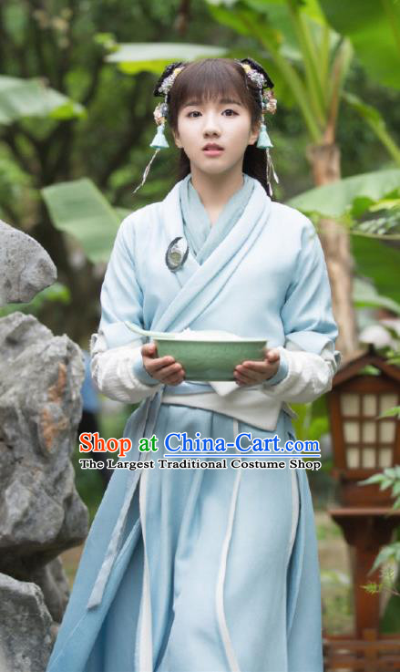 Ancient Chinese Song Dynasty Female Scholar Pei Jing Blue Hanfu Dress Drama Young Blood Nobility Lady Costumes for Women