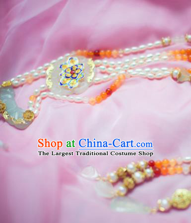 Traditional Chinese Hanfu Tang Dynasty Pearls Necklace Ancient Princess Blueing Lotus Necklet Accessories for Women