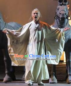 Chinese Drama Shang Yang White Clothing Stage Performance Dance Costume for Men