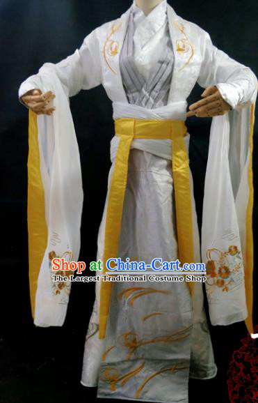 Traditional Chinese Cosplay Young Hero Embroidered White Clothing Ancient Swordsman Costume for Men