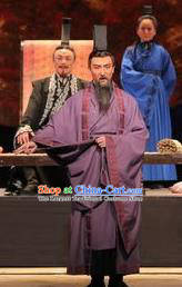 Chinese Drama Shang Yang Qin Dynasty Minister Purple Clothing Stage Performance Dance Costume for Men