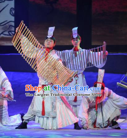 Chinese Drama Dragon Boat Festival Classical Dance White Clothing Stage Performance Dance Costume for Men