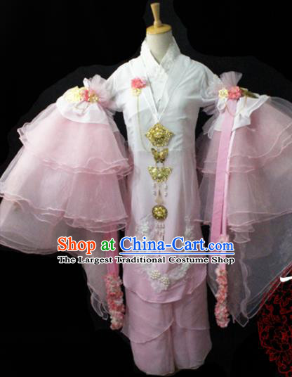 Chinese Cosplay Fairy Princess Pink Chiffon Dress Ancient Female Swordsman Knight Costume for Women