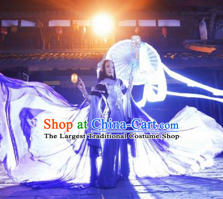 Chinese Cosplay Game Fairy Purple Dress Ancient Female Swordsman Knight Costume for Women