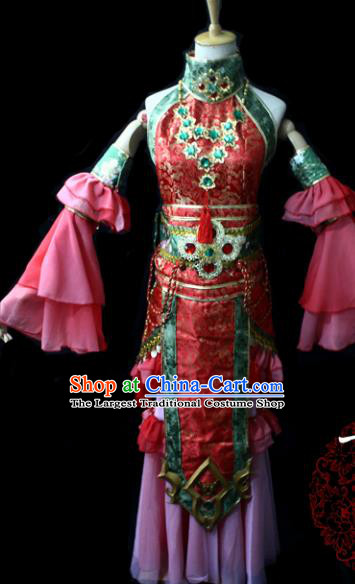 Chinese Cosplay Game Fairy Princess Red Dress Ancient Female Swordsman Knight Costume for Women