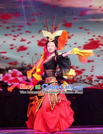 Chinese Drama Dragon Boat Festival Classical Dance Dress Stage Performance Costume and Headpiece for Women