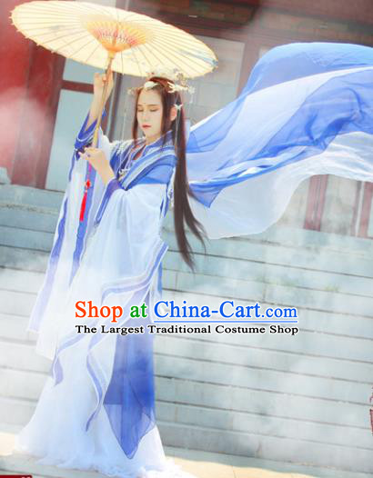 Chinese Cosplay Imperial Consort Blue Dress Ancient Female Swordsman Knight Costume for Women