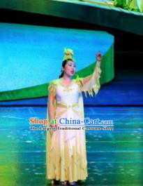 Chinese Drama Dragon Boat Festival Classical Dance Yellow Dress Stage Performance Costume and Headpiece for Women