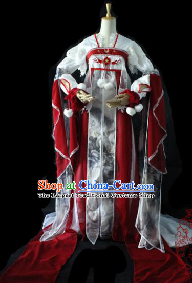 Chinese Cosplay Imperial Consort Purplish Red Dress Ancient Female Swordsman Knight Costume for Women