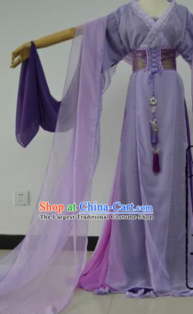 Chinese Cosplay Goddess Fairy Princess Purple Dress Ancient Female Swordsman Knight Costume for Women