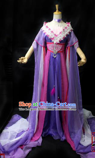 Chinese Cosplay Imperial Consort Purple Dress Ancient Female Swordsman Knight Costume for Women