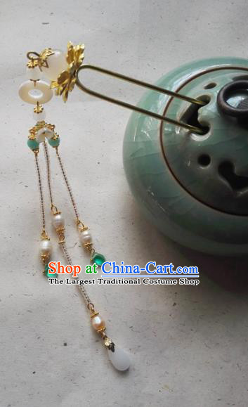 Traditional Chinese Classical Pearls Tassel Step Shake Hairpins Ancient Princess Hanfu Hair Accessories for Women