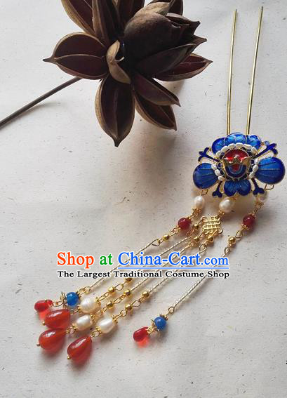 Traditional Chinese Classical Pearls Tassel Step Shake Cloisonne Hairpins Ancient Princess Hanfu Hair Accessories for Women
