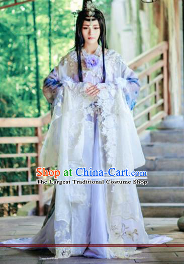 Chinese Cosplay Imperial Consort Lilac Dress Ancient Female Swordsman Knight Costume for Women
