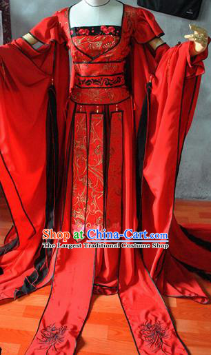 Chinese Cosplay Goddess Princess Wedding Red Dress Ancient Female Swordsman Knight Costume for Women