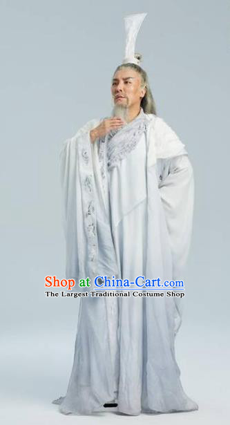 Chinese Drama Yuan Qu Ancient Poet White Clothing Stage Performance Dance Costume for Men