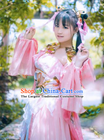 Chinese Cosplay Fairy Female Swordsman Pink Dress Ancient Knight Princess Costume for Women