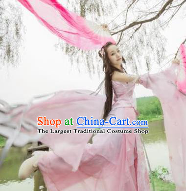 Chinese Cosplay Imperial Consort Pink Dress Ancient Female Swordsman Knight Costume for Women