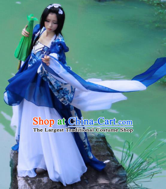 Chinese Cosplay Imperial Consort Royalblue Dress Ancient Female Swordsman Knight Costume for Women