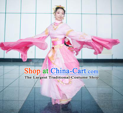 Chinese Cosplay Goddess Fairy Princess Pink Dress Ancient Female Swordsman Knight Costume for Women