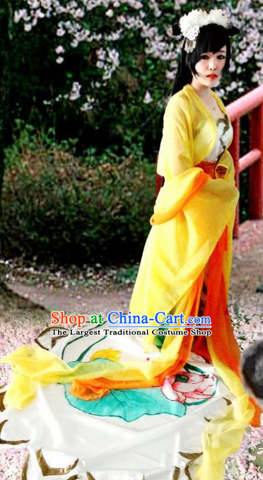 Chinese Cosplay Goddess Fairy Princess Yellow Dress Ancient Female Swordsman Knight Costume for Women
