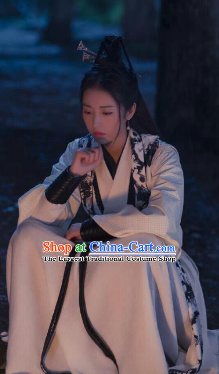 Ancient Chinese Song Dynasty Female Swordsman White Pink Hanfu Dress Drama Young Blood Infanta Zhao Jian Costumes for Women