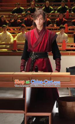 Chinese Drama Fights Break Sphere Ancient Young Xiao Yan Knight Swordsman Red Hanfu Costumes for Men