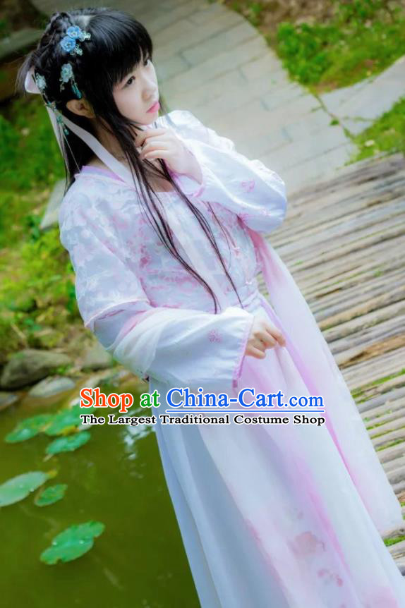 Chinese Cosplay Princess Pink Dress Ancient Female Swordsman Knight Costume for Women