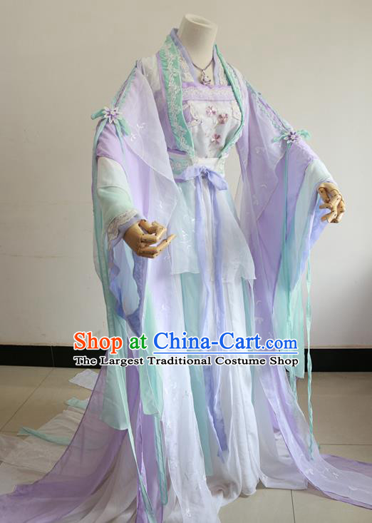 Chinese Cosplay Princess Light Purple Dress Ancient Female Swordsman Knight Costume for Women