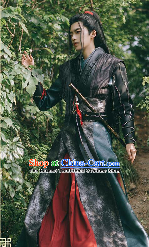 Traditional Chinese Cosplay The Untamed Knight Black Clothing Ancient Swordsman Costume for Men