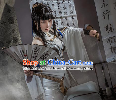 Traditional Chinese Cosplay Swordswoman White Dress Ancient Princess Heroine Costume for Women