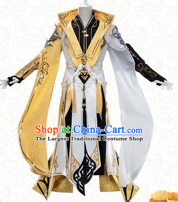 Traditional Chinese Cosplay The Untamed Prince Golden Clothing Ancient Swordsman Costume for Men