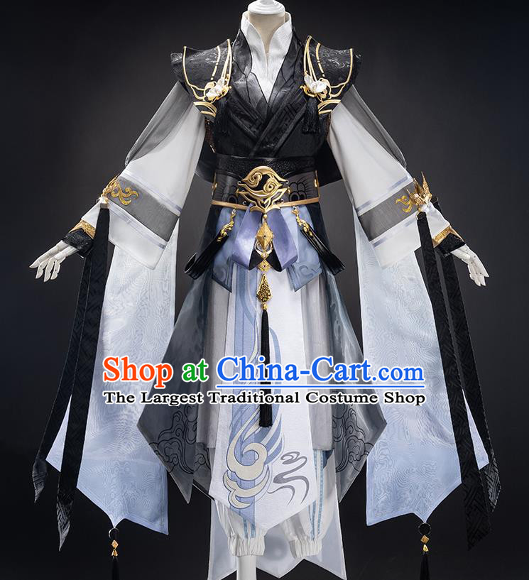 Traditional Chinese Cosplay Taoist Black Clothing Ancient Swordsman Costume for Men