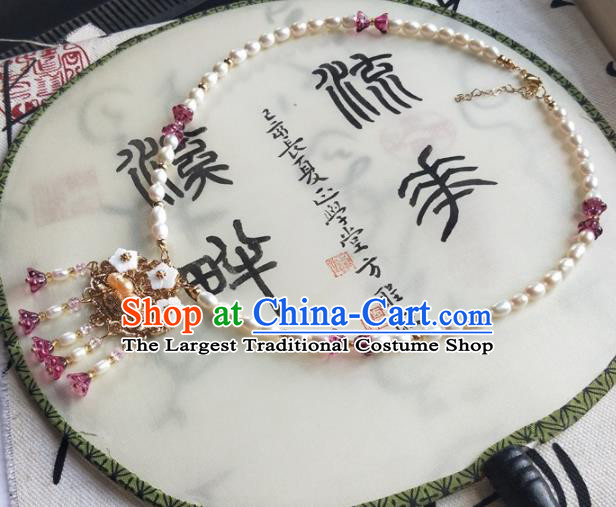 Traditional Chinese Ancient Princess Pearls Necklace Ming Dynasty Court Necklet Accessories for Women