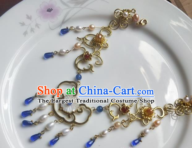 Traditional Chinese Ancient Princess Tassel Necklace Ming Dynasty Court Necklet Accessories for Women