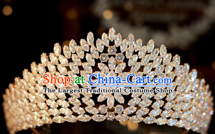 Top Grade Bride Zircon Golden Royal Crown Handmade Wedding Hair Accessories for Women