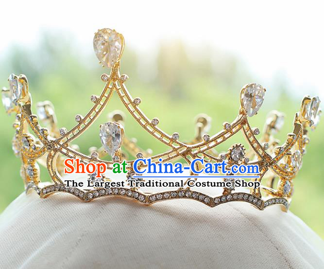Top Grade Bride Zircon Round Royal Crown Handmade Wedding Hair Accessories for Women