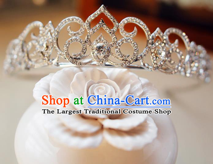 Top Grade Bride Zircon Royal Crown Handmade Wedding Hair Accessories for Women