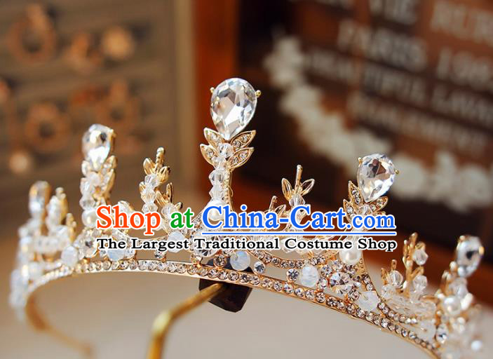 Top Grade Bride Zircon Crystal Royal Crown Handmade Wedding Hair Accessories for Women