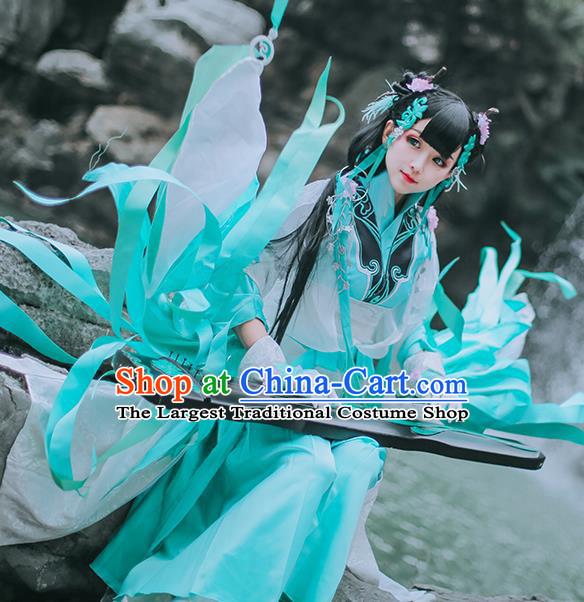 Traditional Chinese Cosplay Swordswoman Green Dress Ancient Fairy Princess Costume for Women