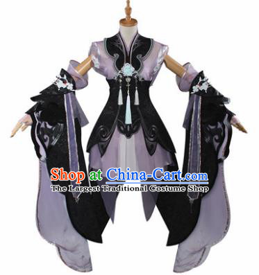 Traditional Chinese Cosplay Swordswoman Purple Short Dress Ancient Fairy Princess Costume for Women