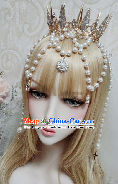 Top Grade Baroque Princess Royal Crown Handmade Crystal Hair Accessories for Women