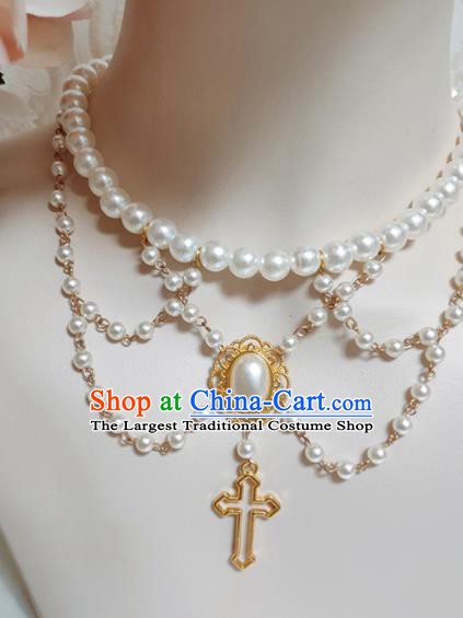 Top Grade Gothic Princess Pearls Necklace Handmade Necklet Accessories for Women