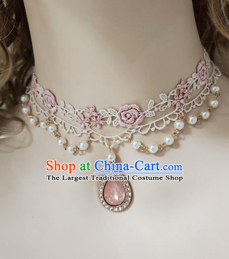 Top Grade Gothic Princess Pink Lace Rose Necklace Handmade Necklet Accessories for Women