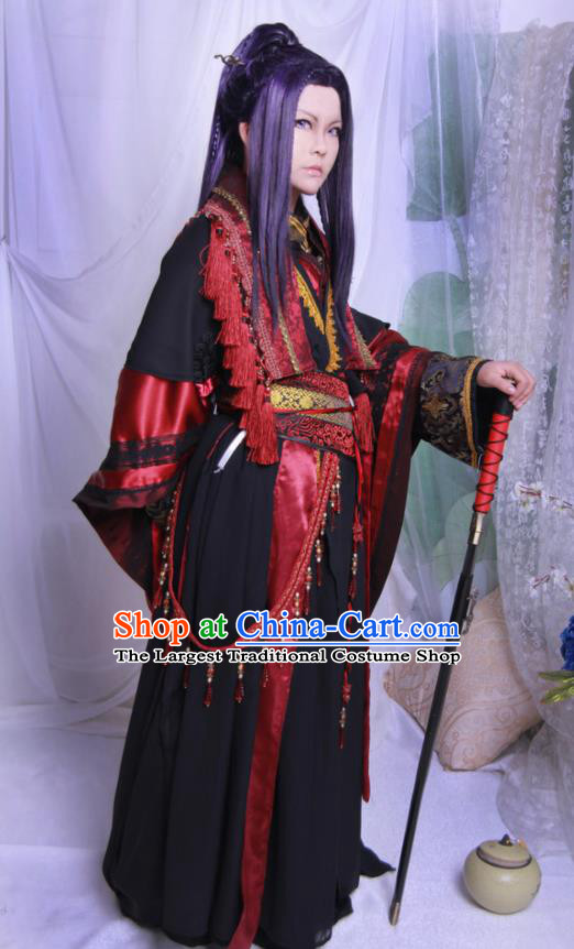 Traditional Chinese Cosplay Swordsman Black Clothing Ancient Royal Highness Costume for Men