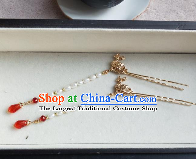 Traditional Chinese Hanfu Palace Pearls Tassel Phoenix Hair Stick Hairpins Ancient Princess Hair Accessories for Women