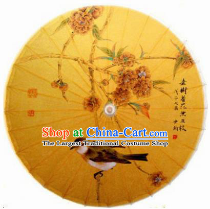 Chinese Handmade Printing Flower Bird Yellow Oil Paper Umbrella Traditional Decoration Umbrellas